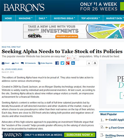 Seeking Alpha Needs to Take Stock of its Policies